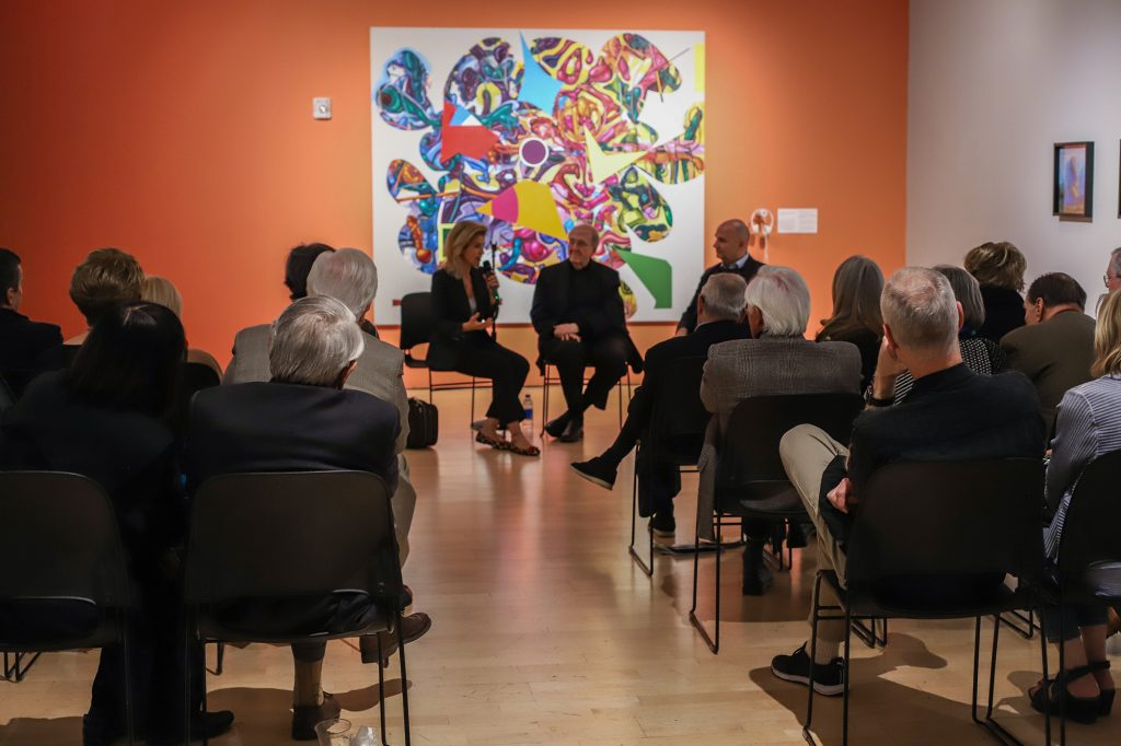 Anne-Sophie Mutter and Lambert Orkis talk with patrons inside the Center Space following their performance at the Center.